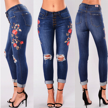 Ripped hole fashion Jeans Women mid Waist skinny pencil Denim Pants Elastic Stretch embroidery sexy women high street wear