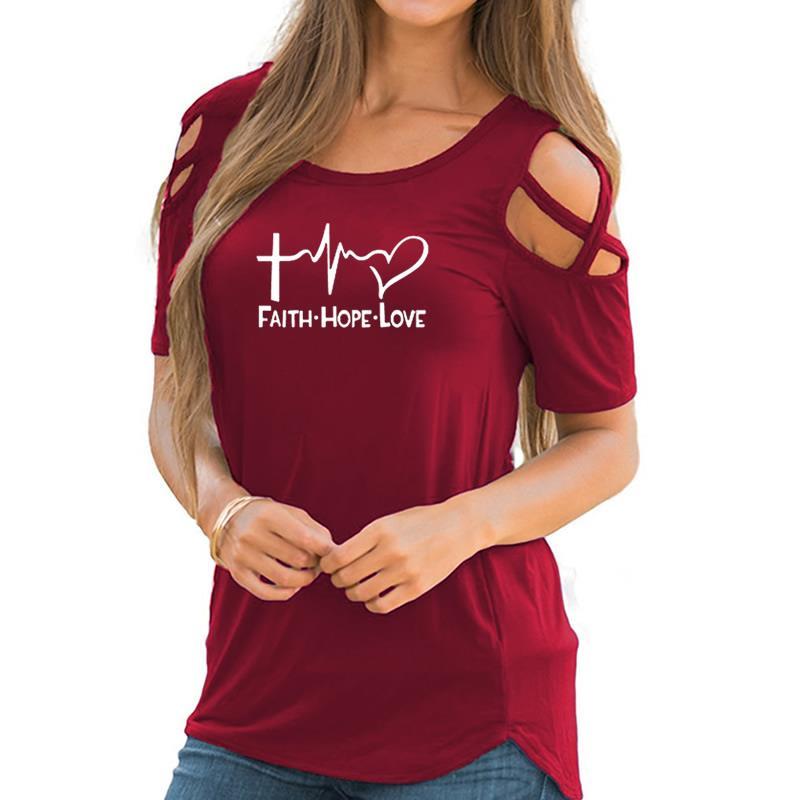 2018 nueva moda amor esperanza fe letras imprimir más tamaño Tops Camiseta mujeres Tumblr Cactus Camiseta Mujer