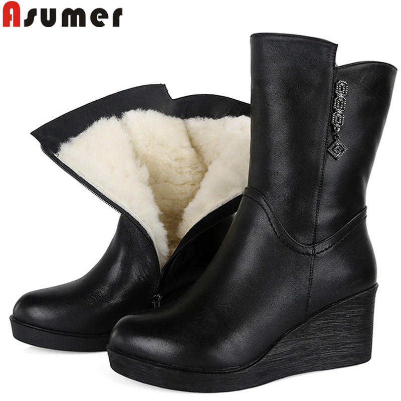 ASUMER black fashion ankle boots for women round toe zip genuine leather boots wedges platform wool keep warm snow boots ASUMER black fashion ankle boots for women round toe zip genuine leather boots wedges platform wool keep warm snow boots