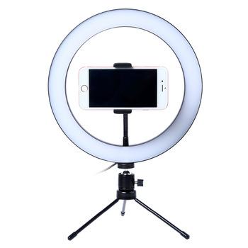 Fotografia LED Selfie lampa pierścieniowa 26CM możliwość przyciemniania aparat telefon lampa pierścieniowa 10 cal ze stołem statywy do wideo do makijażu studio live tanie i dobre opinie Lacyfans Bi-color 3200 K-5600 K Mini table tripod