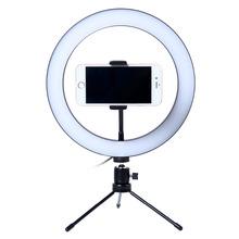 Fotografia LED Selfie lampa pierścieniowa 26CM możliwość przyciemniania aparat telefon lampa pierścieniowa 10 cal ze stołem statywy do wideo do makijażu studio live tanie tanio Lacyfans Bi-color 3200 K-5600 K Mini table tripod