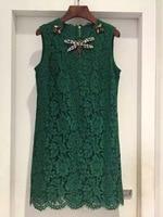 New High quality custom lace imports Czech Crystal Dragonfly nail bead retro emerald sleeveless vest dress
