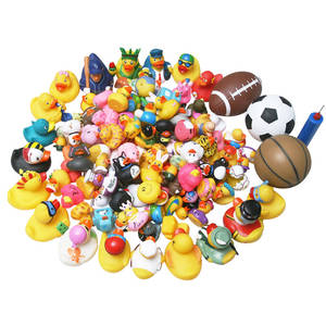 Random delivery 50PCS baby Bath Toy Swimming ducks 5 big ones and 45 small ones Floating rubber duck three balls for free