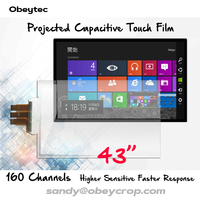 Fast Delivery 43 Metal Mesh Projected Capacitive Touch Screen Film Foil 10 Touch Points, USB Driver, Plug and Play