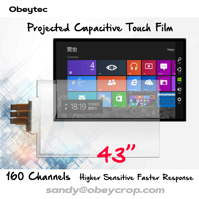 Obeytec 43 Capacitif Tactile Feuille Film, 10 Touches, 160 Canaux, USB Tactile Film