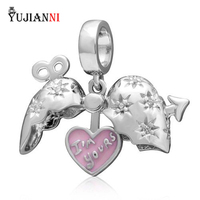 925 Sterling Silver Arrow of Cupid Heart Dangle Fits European Bead Charms Bracelet & Necklace DIY Jewelry Findings