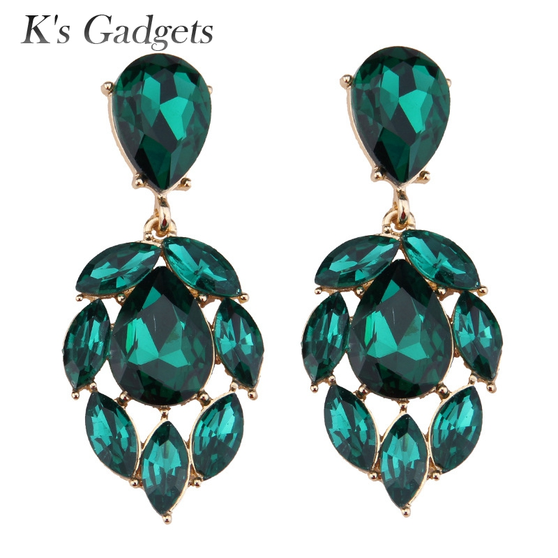 Aliexpress Red Green White Large Crystal Earring Fashion Gold Color Wedding With Stones Cubic Zirconia Women S Drop Earrings Brincos Longos From