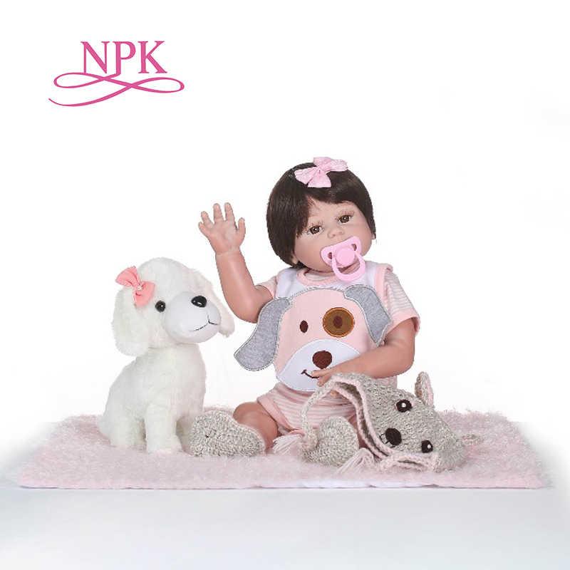 NPK Bayi Baru Lahir Boneka Reborn 48 Cm 19 Inch Reborn Bayi Gadis Kehidupan Nyata Boneka Hidup Mainan Lembut Silikon Terbuka mata Anjing Kecil