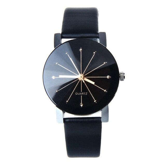 Women Quartz Dial Clock Wrist Watch Round Case PU Leather Strap Bracelet Watches