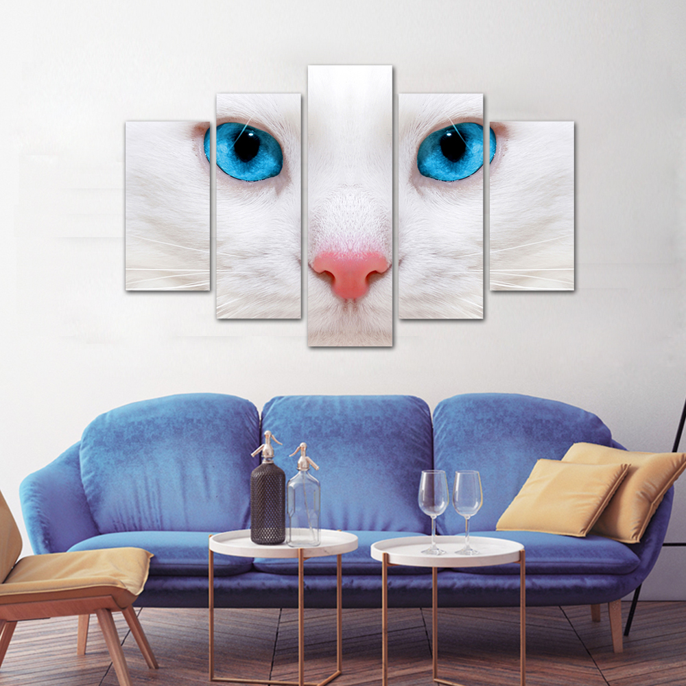 Unframed HD Print 5 Canvas Art Painting White Cat Living Room Decoration Spray Painting Mural Unframed Free Shipping