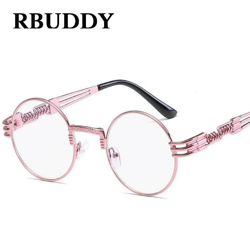 RBUDDY steampunk óculos de sol Rosa Mulheres Armação De Metal Retro Rodada  steampunk óculos de Lente Clara Do Vintage Óculos de Proteção óculos de sol  ... f7114c82da