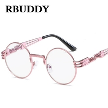 RBUDDY steampunk goggles pink sunglasses Women Metal Frame Retro Round Clear Lens Vintage lunette UV400