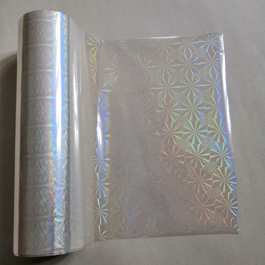 Holographic foil transparent chrysanthemum pattern stamping foil hot press on paper or plastic transfer film