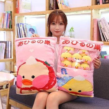 Kawaii 8 Uds LaLafanfan Cafe pato de felpa bolsa de pelotas Snack de juguete suave dibujo Animal pato relleno muñeca sofá almohada novia chico regalo