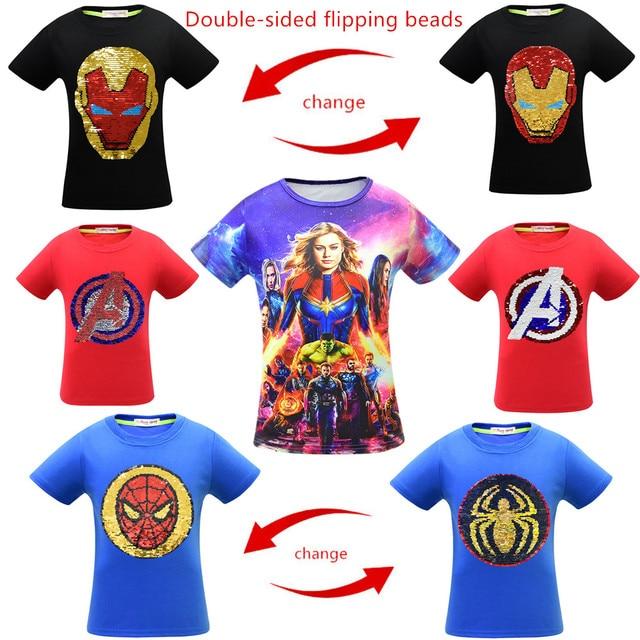 Endgame 4 Meninos T-shirt Do Homem Aranha Capitão Marvel Avengers Camiseta de Algodão top Crianças Homem De Ferro camisa de Mangas Curtas Festa Legal T camisas
