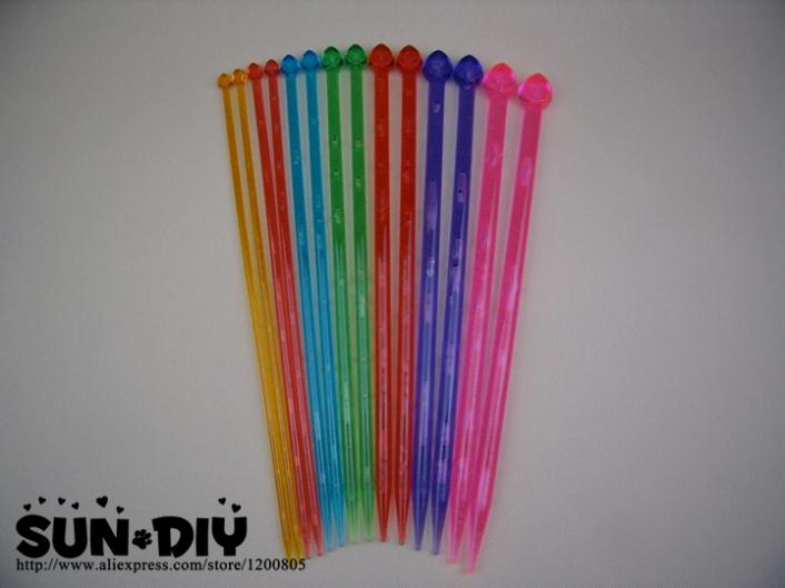 Free Shipping Colorful Single-pointed Acrylic Knitting Needles 25,35cm 7 Pairs Size 4-10mm For DIY Crafts Knitting Needlework