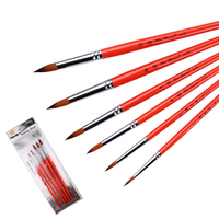 Modern Red Color Nylon Hair Acrylic Watercolor Pen Brush Set 6pcs Pointed Head Oil Painting Brush