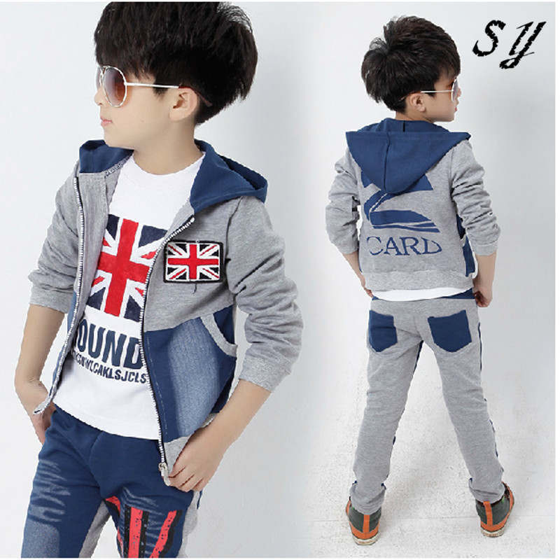 Children Boy Clothing Sets Handsome Child Boys Clothes 3: 2015 Fashion Kids Autumn Teenage Boy Clothing Sets Spring