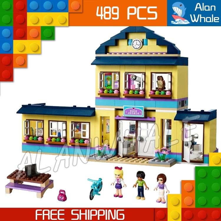 New 10166 BELA Girls Friends HeartLake City School Block 489pcs basketball hoop deli science picnic flower Compatible with Lego