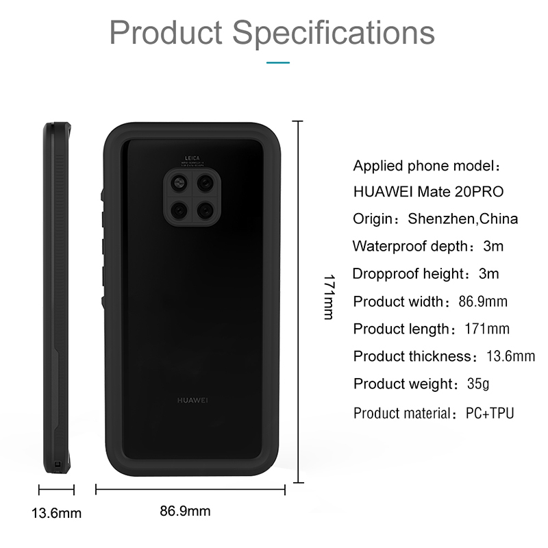 Diving Swim Proof Case For Huawei Mate 20 Pro Case Swimming IP68 Waterproof Outdoor Sport Cover For Huawei Mate 20 Pro Fundas