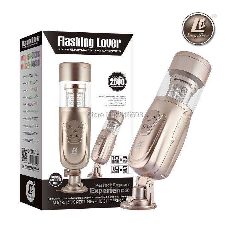 Automatic Electric Male Masturbators with Rotating and Retractable Sex Toys for Men,Easy Love Telescopic Flashing Masturbator