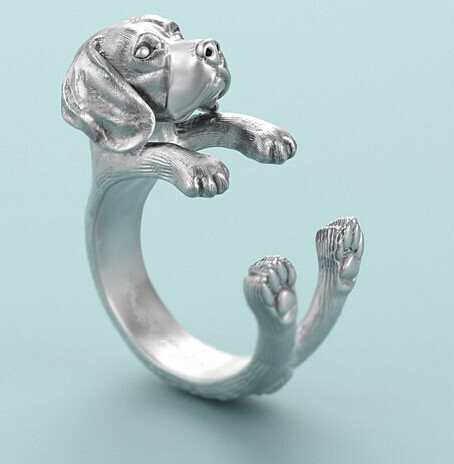 Beagle Dog Ring free size punk animal Beagle Ring jewelry for pet lovers image