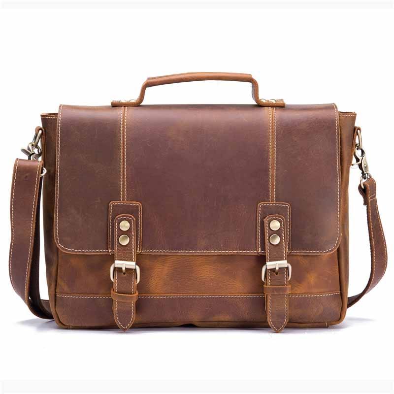 Men's Briefcase Bags 100% Genuine Leather Business Male Handbags Messenger Shoulder CrossBody Vintage Man Travel Laptop Tote Bag
