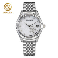 BINLUN Shining Silver Women's Automatic Watch Rose Carving Dial Diamond Case Lady Mechanical Watch Luxury Female Wrist Watches