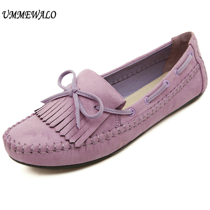UMMEWALO Shoes Women Soft PU Leather Flat Shoes Casual Bow Loafer Shoes Ladies Rubber Sole Driving