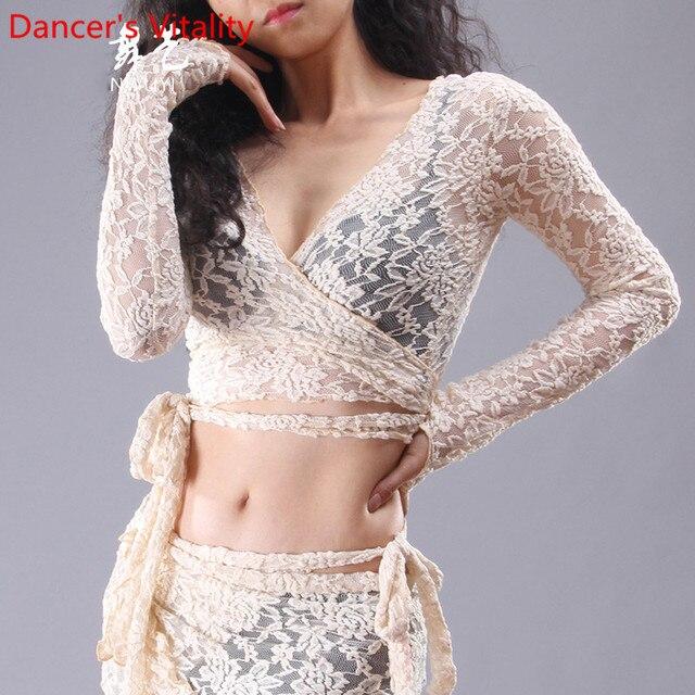 Nouveau vêtements de danse du ventre Sexy col en V profond haut de danse pour les femmes danse latine haut manches longues S,M,L