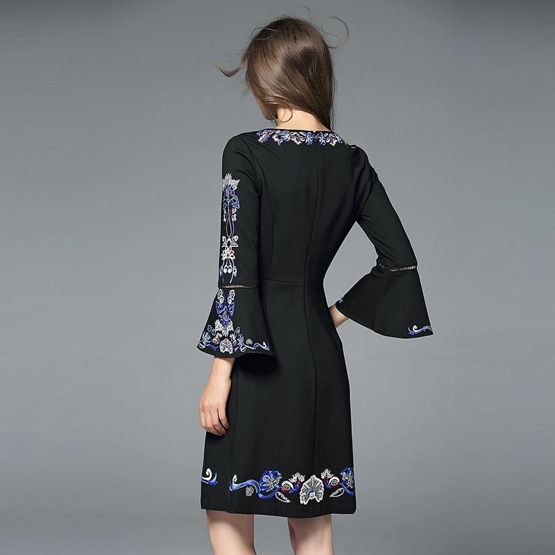 Elegant V-neck Black Embroidery Dress Vestidos Mujer Invierno 2018 Spring Women Dress Vestido Branco Kleider Damen K6319