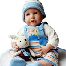Fashion Big Size Realistic Reborn Baby Boy Dolls For Boys Playmate 55 cm Lifelike Silicone Reborn Babies Child Partners Toys