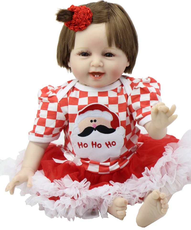 22 Inch Silicone NPK Collection Doll Realistic Smiling Reborn Babies Girl Handmade Newborn Baby Doll For Children Birthday Gift npk collection 22 inch lifelike reborn dolls toys silicone newborn baby girl fashion doll smiling princess xmas gift