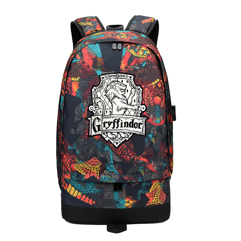 2018 New Street Style USB Charging Laptop Backpack Harry Potter Printing Backpack Hogwarts Canvas School Bags Travel Backpack