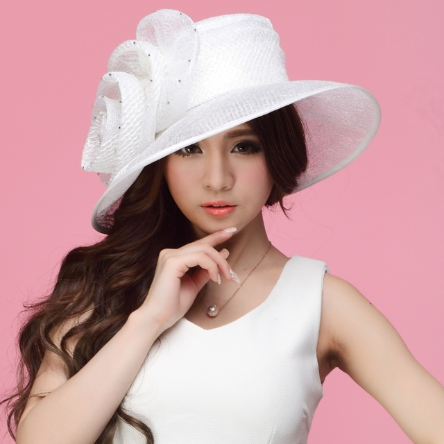 5673e8dde7b Free Shipping Womens Organza Church Hat Wide Brim Flower Fashion  Accessories Fancy Wedding Dress White Wide