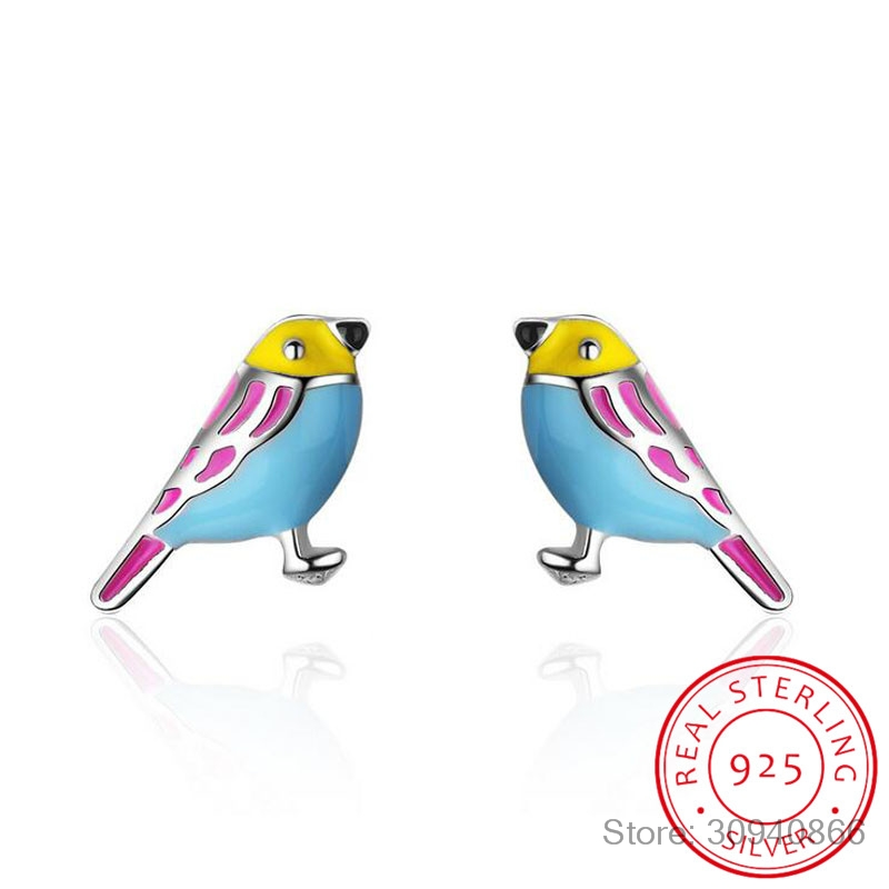 Cute 925 Sterling Silver Colorful Bird Stud Earrings For Kids Children Girl Lovely Animal Sterling-silver-jewelry