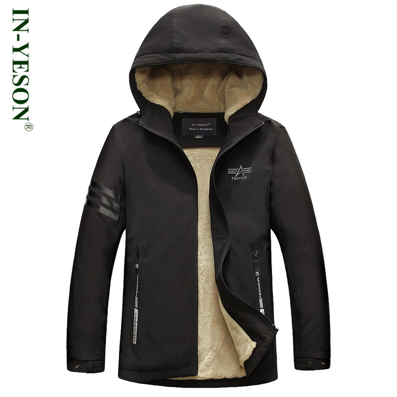 New IN-YESON Brand Winter Hooded Jacket Men Military Fleece Parka Men High Quality Warm Overcoat Cotton Padded Men's Parka Coat  new obese men hooded down jacket in winter jacket coat plus size7xl8xl cotton padded clothes to keep warm and high quality coat