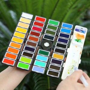 Image 2 - Yeni 18/38/58 renk kat düz suluboya boya seti ile boya fırçası ve hediyeler kutu suluboya Pigment boyama su renkler