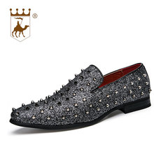 BACKCAMEL Fashion Spiked Loafers Shoes Men Round Toe Bling Sequins Banque Wedding Male Slip on Rivets Leather