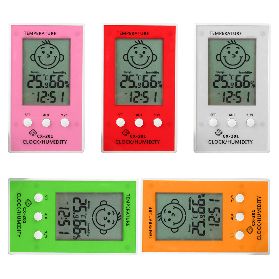 LCD Digital Thermometer Hygrometer Baby Smile Crying Face Humidity Meter Weather Station Tester Temperature clock