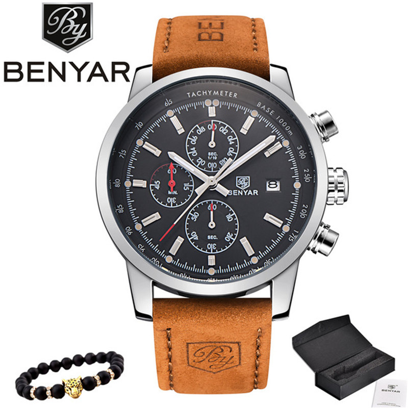 BENYAR Fashion Chronograph Sports Mens watch Simple Luxury Quartz Watch Reloj Hombre Saat Clock Mens Moments relogio MasculinoBENYAR Fashion Chronograph Sports Mens watch Simple Luxury Quartz Watch Reloj Hombre Saat Clock Mens Moments relogio Masculino