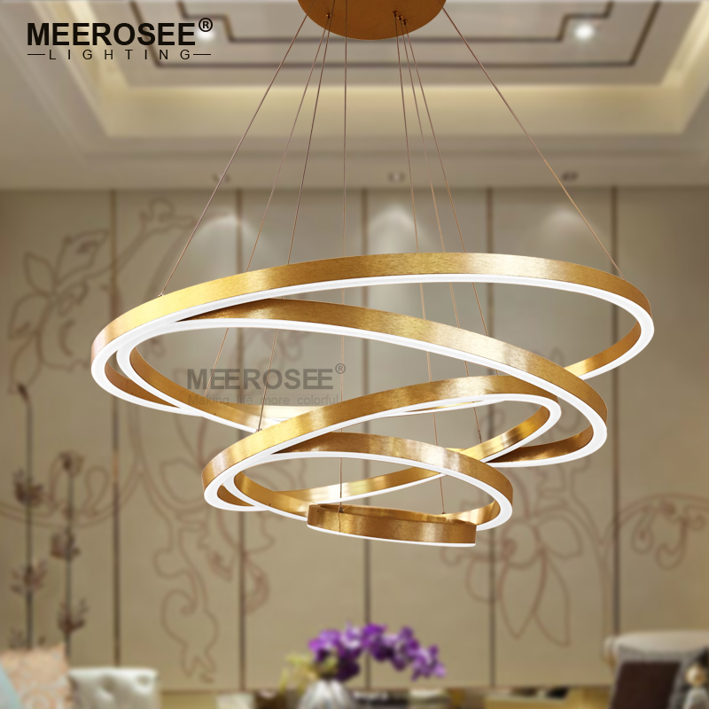 Large Rings Led Pendant Lights Gold Hanging Lamp For Restaurant Acrylic Circle Lampadario Res Lighting In From