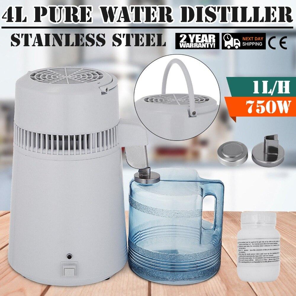 4L Pure Water Distiller 1L/h Water Purifier Filter Dental Medical Home 220V