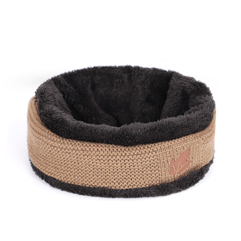 Зимние мужские вязаные шапки, шарф, уличные теплые бархатные унисекс новые модные трендовые брендовые шапки кленовый лист, кожаный Стандартный комплект для мужчин - Цвет: Khaki C