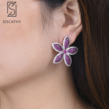 SISCATHY Charms Women Shining Flower Stud Earrings Luxury Full Cubic Zirconia Inlaid Statement Fashion Jewelry