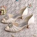 Transporte da gota 2015 Gatinho Wedopus Salto Baixo Salto Bombas Sapatos de Casamento Do Marfim Cetim Nupcial