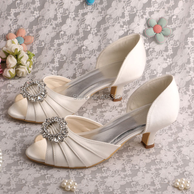 Wedopus Drop Shipping 2017 Kitten Heel Low Pumps Ivory Satin Bridal Wedding Shoes