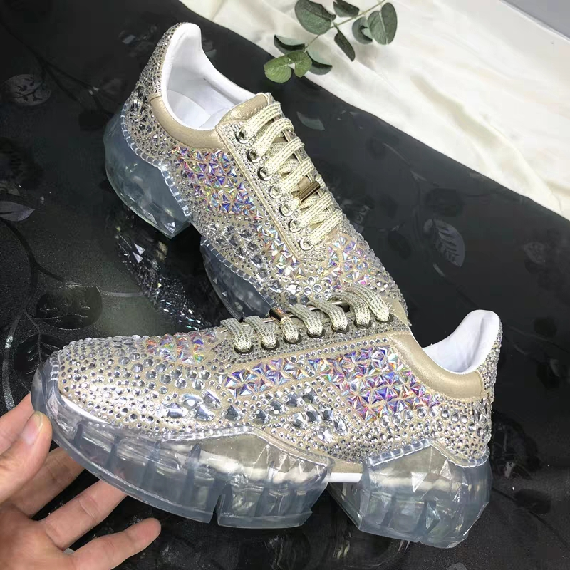 Fashion 2019 Spring Crystal ins Net Hot Shoes Woman Rhinestone Women Casual White Shoes Transparent platform Shoes Zapatos Mujer 1
