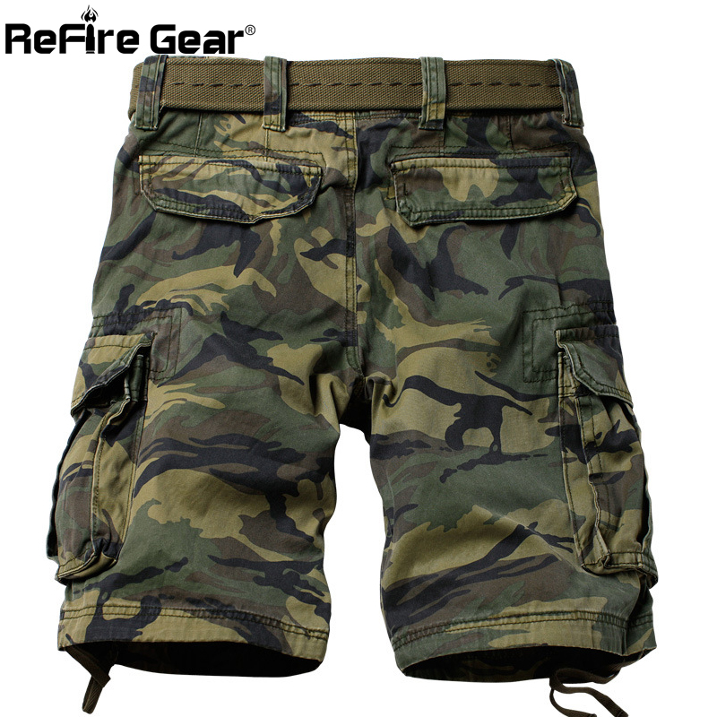 ReFire Gear Military Camouflage Shorts Men Many Pockets Army Cargo Shorts Summer Casual Loose Cotton Camo Tactical Shorts 29-42