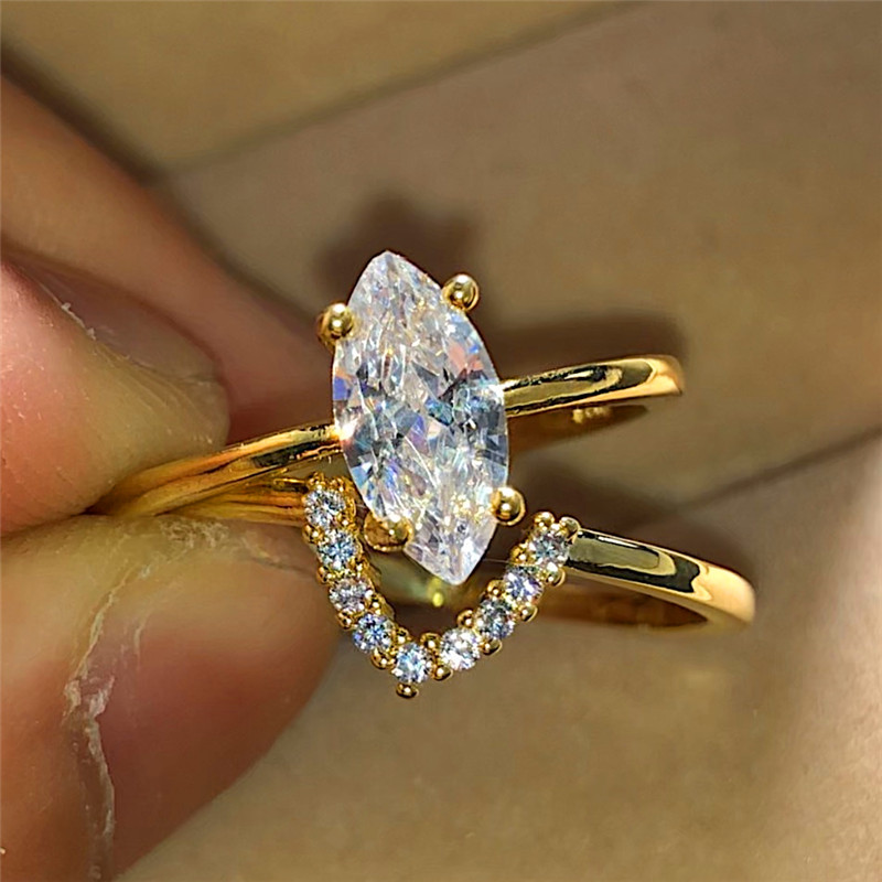 Engagement Rings Jewelry Zircon Promise Wedding Gold-Color Yellow Women Luxury Crystal